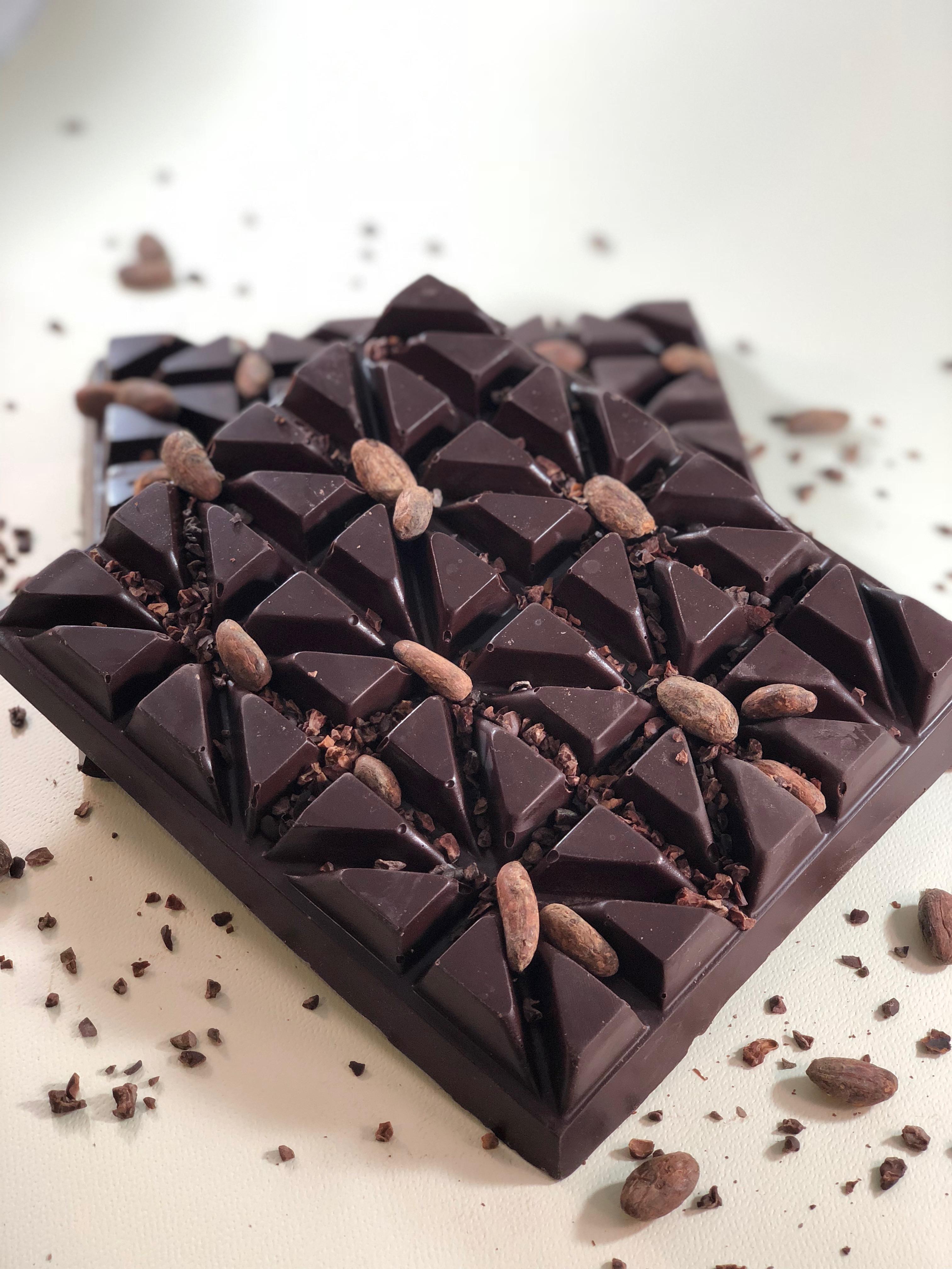 Tempered craft chocolate block